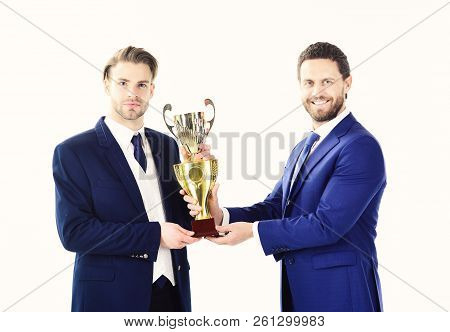 Business Victory, Support, Partership Concept. Businessman With Confedent Face Receives Prize. Award