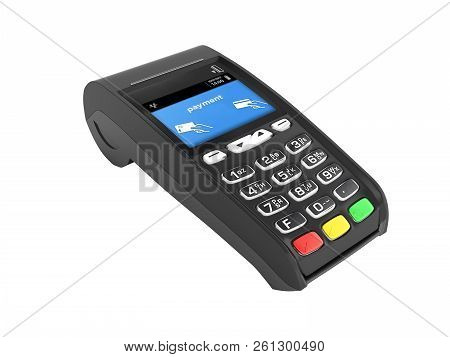 Card Payment Terminal Pos Terminal Isolated On White Background 3d Render Without Shadow
