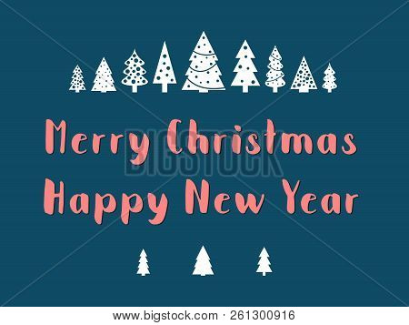 Merry Christmas Text With Small Christmas Trees. Greeting Card Vector.