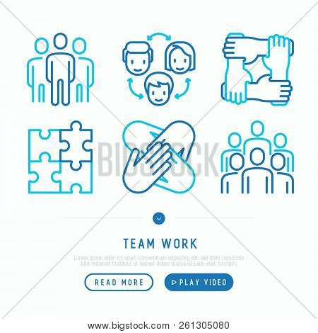 Teamwork Thin Line Icons Set: Group Of People, Mutual Assistance, Meeting, Handshake, Cooperation, P