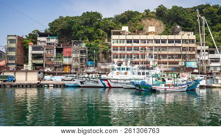 Keelung, Taiwan - September 5, 2018: Fishing Harbor Of Keelung City