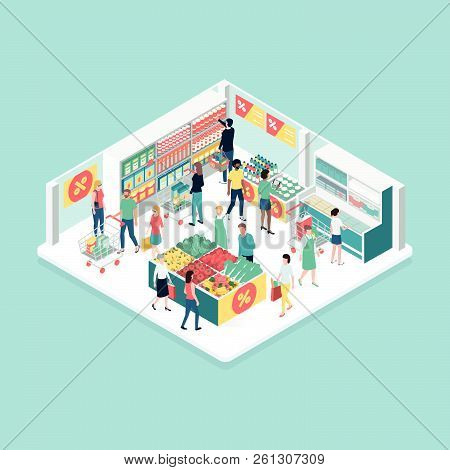 People Doing Grocery Shopping At The Supermarket, Isometric Shop Interior: Discounts And Retail Conc
