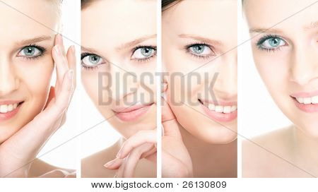 beauty woman closeup portrait over white background