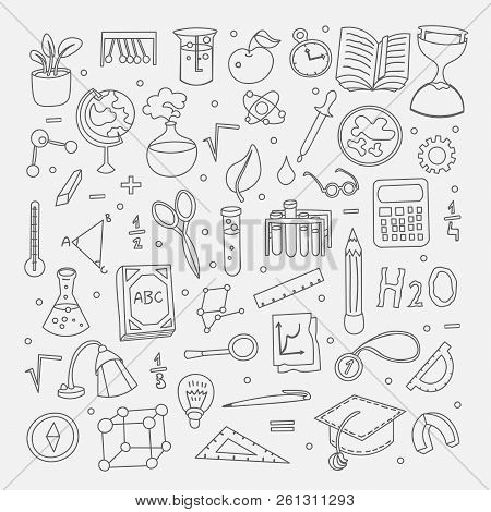 Lined Back To School Supplies, Elements And Objects. Autumn Back To School Supplies In Funny Doodle