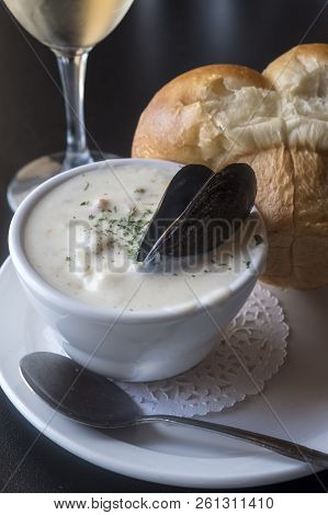Bowl Of Seafood Chowder Served In A Restaurant