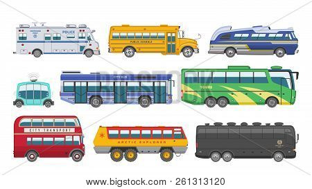 Bus Vector Public Transport Tour Or City Vehicle Transporting Passengers Schoolbus Police And Transp