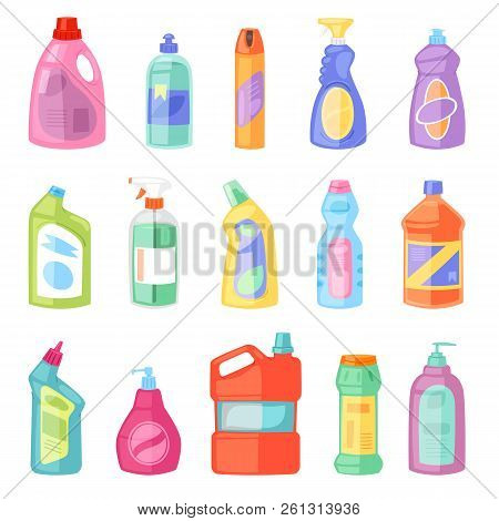 Detergent bottle vector plastic blank container with detergency liquid and mockup household cleaner product for laundry illustration set of cleanup deterge package isolated on white background poster