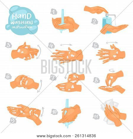 Wash Hands Vector Instructions Of Washing Or Cleaning Hands With Soap And Foam In Water Illustration