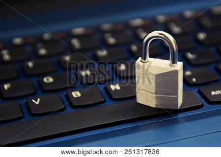 Cyber Safety Concept, Padlock On Laptop Keyboard. Internet Addiction.