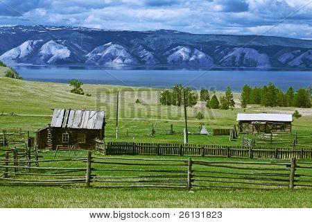 nature lake of Baikal with mountain