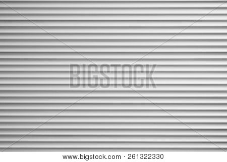 Silver Metallic Roller Blind Or Sliding Shutter Shade Background With Copy Space
