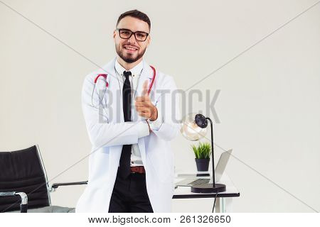 Doctor Showing Thumbs Up In The Hospital.