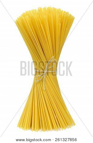 Beautiful Raw Spaghetti Pasta. Spaghetti Bunch Or Cooking Ingredient, Isolated On White Background.
