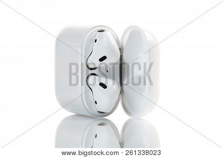 New York, Usa - October 01, 2018: Apple Wireless Earphones Isolated On White Background. Apple Airpo