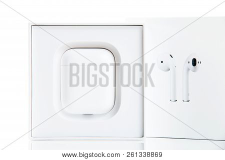 New York, Usa - October 01, 2018: Apple Airpods In Original Package Isolated On White Background. Ap