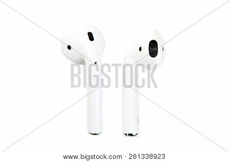 New York, Usa - October 01, 2018: Apple Airpods. Apple Wireless Earphones Isolated On White Backgrou