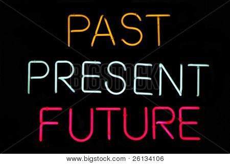 Past, Present, Future neon sign on black