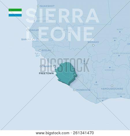 Verctor Map Of Cities And Roads In Sierra Leone.