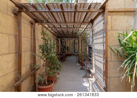 Passage Ceiled With Wooden Pergola Leading To The House Of Egyptian Architecture Historical Building