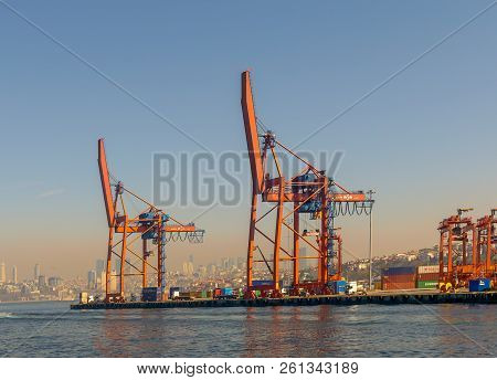 Istanbul, Turkey - April 26, 2017: Day Shot Of The Cranes In The Shipyard Of The Port Of Haydarpasha