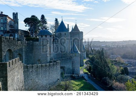 Castle Of Carcassonne In Winter , Occitania, France
