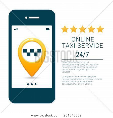 Taxi Service Banner Template. Online Mobile Taxi Order Service App Concept. Gps Route Point Pins On