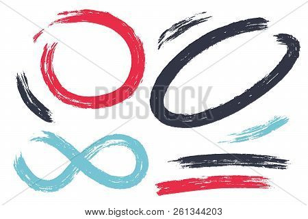 Vector Set Of Hand Drawn Brush Strokes In Various Shapes For Designs. Colorful Artistic Hand Drawn E