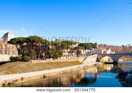 Rome Italy Tiber Island Isola Tibertina. View Of Basilica Of St Bartholomew On The Island.
