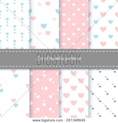Set Of Seamless Patterns With Hearts. Delicate Shades Of Colors. Pattern For Home Textiles And Child