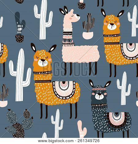 Seamless Pattern With Cute Llamas Ans Cactuses. Creative Hand Drawn Llama Childish Texture. Great Fo
