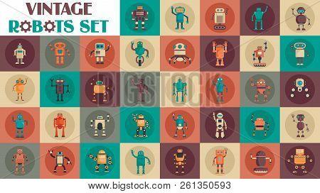 Vintage Robots Set. Retro Flat Robots Set On Color Background. Retro Technic. Vintage Steampunk.