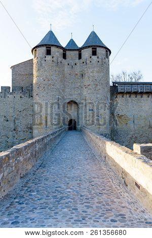 Main Door Castell Of Carcassonne In  Occitania, France