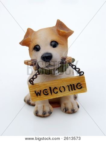 Isolated figure of funny dog with the tablet welcome poster