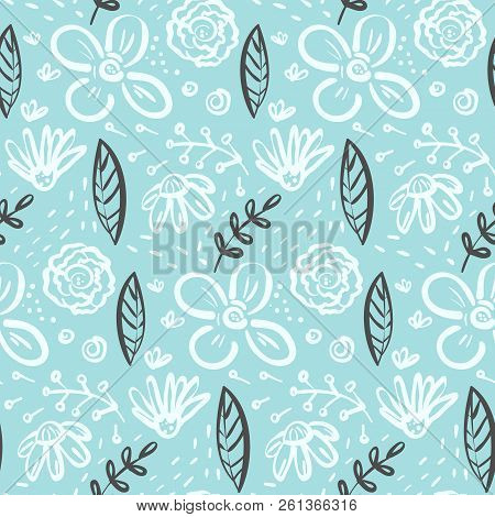 Contrast Linear Doodle Floral Seamless Pattern With White Flowers And Contrast Dark Leaves On Blue.