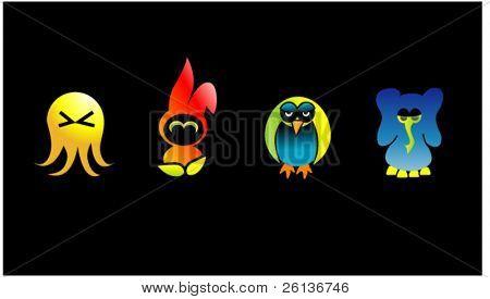 4 Cute Cartoon Characters.