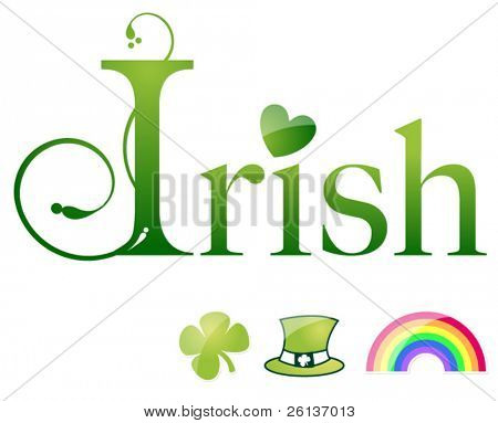 Irish Letter Set with rainbow, clover, and hat