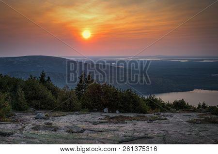 Sunset Over Acadia National Park - Cadillac Mountain, Maine, Usa
