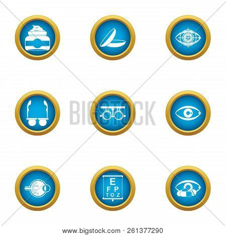 Vision Control Icons Set. Flat Set Of 9 Vision Control Vector Icons For Web Isolated On White Backgr