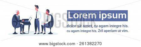 Businessmen Sitting Workplace Business Interview Concept Boss Employer Interviewing Employee Men Com