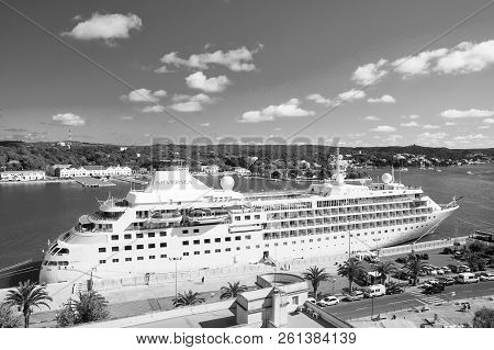 Mahon, Spain - April 06, 2010: Cruise Ship Silver Cloud By Silversea In Sea Port. Cruise Liner In Se