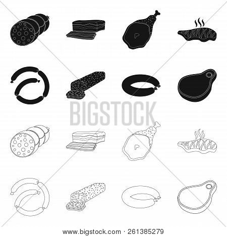 Isolated Object Of Meat And Ham Icon. Set Of Meat And Cooking Stock Vector Illustration.