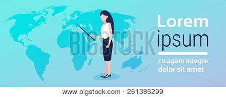Businesswoman Pointing World Map Geographic Global Presenting Location Placement Business Globalizat