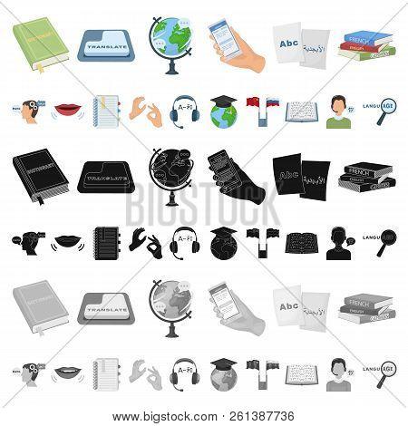 Translator and linguist cartoon icons in set collection for design. Interpreter vector symbol stock web illustration. poster