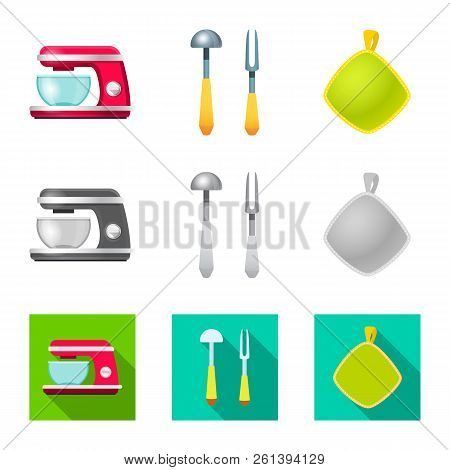 Vector Illustration Of Kitchen And Cook Icon. Collection Of Kitchen And Appliance Stock Vector Illus