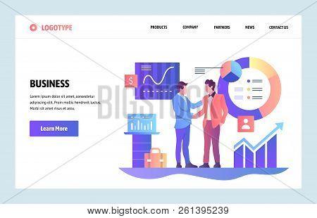 Vector Web Site Linear Art Design Template. Business Partnership Concept. Businessmen Cut A Deal Wit