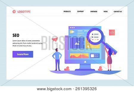 Vector Web Site Linear Art Design Template. Seo Search Engines Optimization And Content Marketing. L