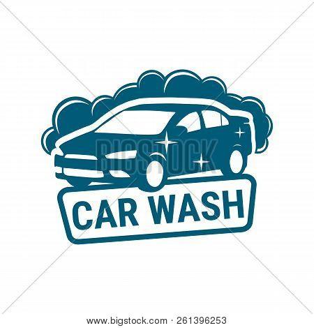 Logo Car Wash. Logo Business Car Wash Water. Vector Icon Design Of Car Cleaning Service. Vector Illu