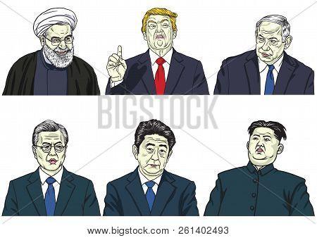Set Of World Leaders. Donald Trump, Hassan Rouhani, Benjamin Netanyahu, Moon Jae-in, Shinzo Abe, Kim
