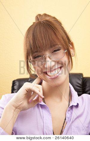 Secretary with beautiful smile