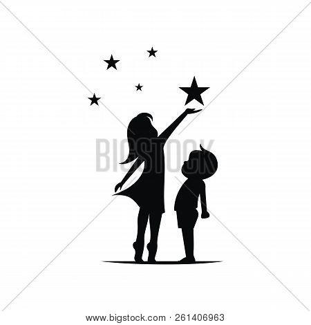 Kids Reach Stars Silhouette Logo Template Vector